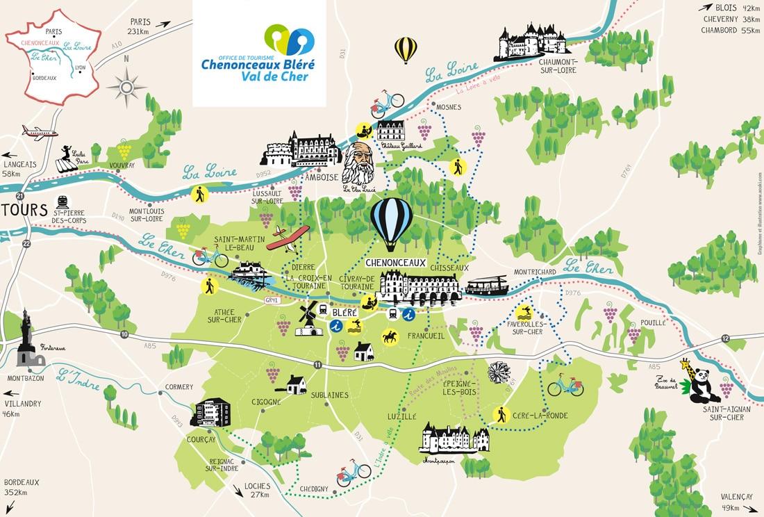 Carte autour de Chenonceaux