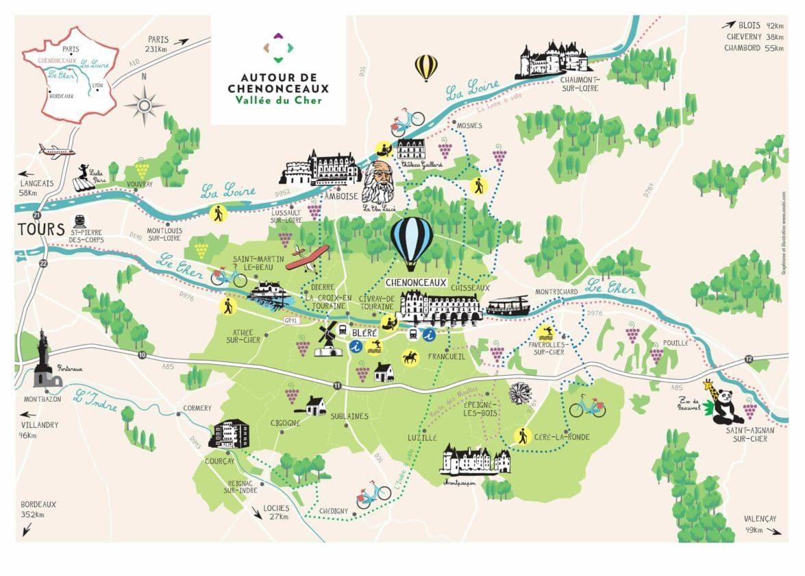 Carte territoire Autour de Chenonceaux Vallee du Cher touraine 37 indre et loire tourisme activites tourisme nature sport vélo cyclotourisme loisirs